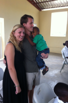 """Katelyn & Jonathan and Jocelyn at church after the entire congregation sang Happy Birthday to them for their anniversary. Not sure when they sang """"Happy Birthday,"""" but it worked! Ha!"""