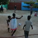 Jonathan playing soccer with Stephenson, Dana, & Gillot