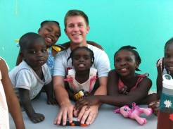 Jacob hanging out with the kids at the orphanage