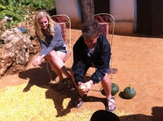 Jacob and Katelyn helping out with the corn cleaning
