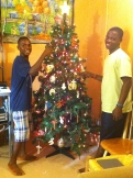 Bicly and Johnny helped as well. They love the Christmas tree in our house.