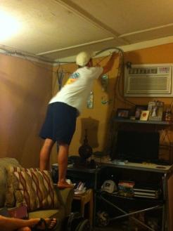 Jacob still hanging lights!