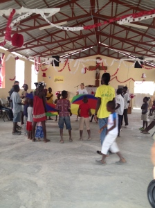 VBS games in the church at Galette Chambon