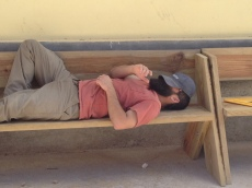 Jess tries out one of the benches during lunch break.