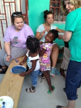 Alyssa and Mary Marie working with Helene and Lovenike at the special orphanage VBS