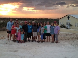 The Crystal Springs team in front of our church at sunset