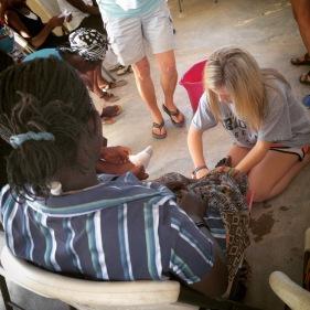 Madison washes Gina's feet