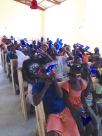 VBS in the church after all of the kids got their water bottles.