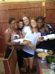 Kelly, Leyna, and Macey with Marie Francis and Yvnante making plates for the pastors' conference.