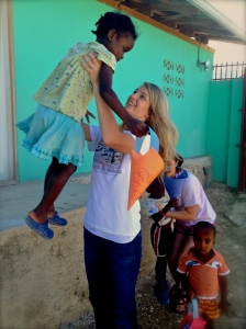 Rachel playing with the kids at the orphanage