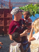 Pastor Dean with his crazy hat on at the orphanage