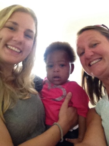 Katelyn and Mickie with Sweet Betsy when we went down to Belle Anse to visit