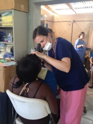 Lauren Eaton from Colonial Heights team doing an eye clinic