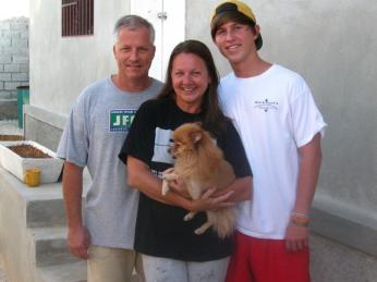Me, Tony, Jacob & Ody in front of our home in Haiti