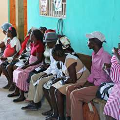Patients waiting in clinic