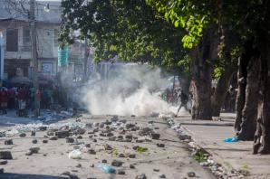 Debris in the street in Port au Prince